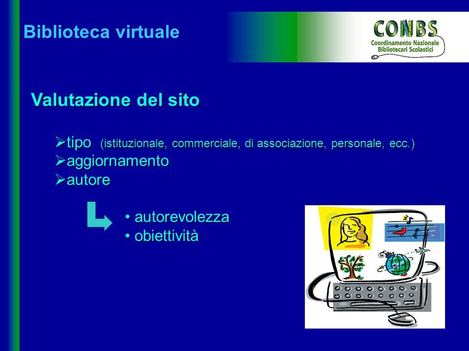 Biblioteca virtuale Valutazione del sito