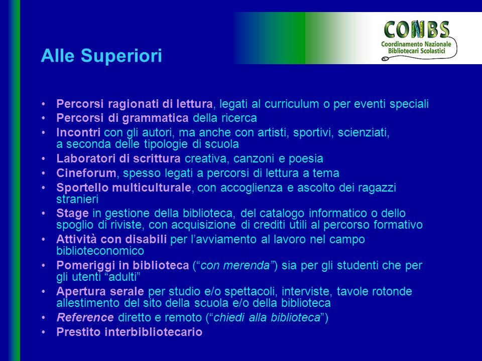 Alle Superiori • Percorsi ragionati di lettura, legati al curriculum o per eventi speciali. • Percorsi di grammatica della ricerca.
