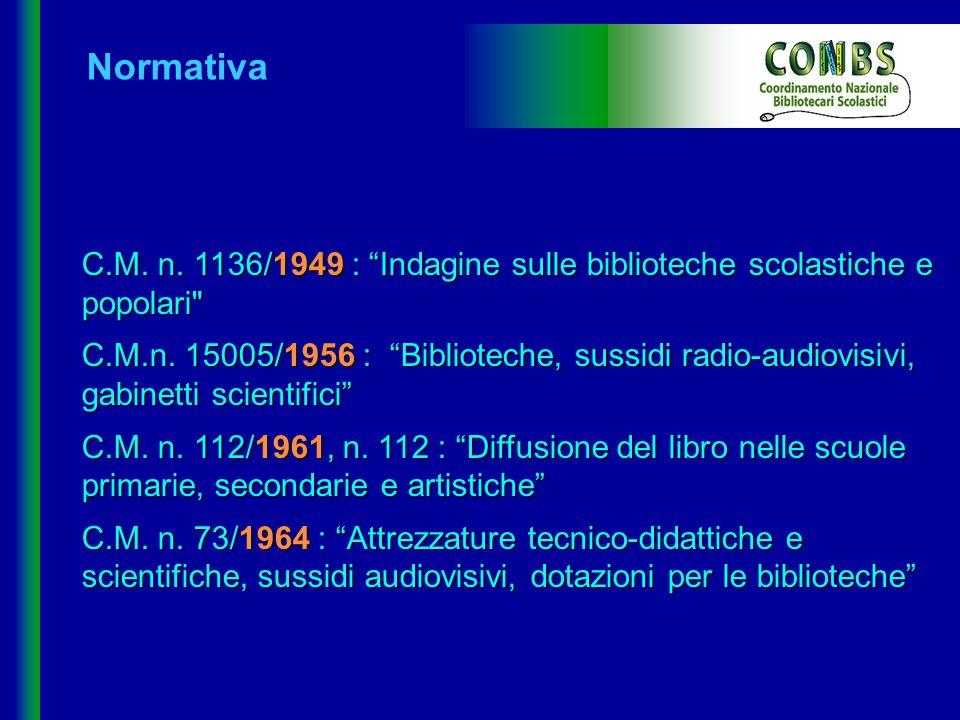 Normativa C.M. n. 1136/1949 : Indagine sulle biblioteche scolastiche e popolari
