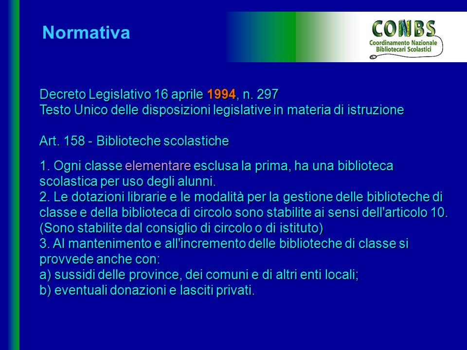 Normativa Decreto Legislativo 16 aprile 1994, n. 297 Testo Unico delle disposizioni legislative in materia di istruzione.