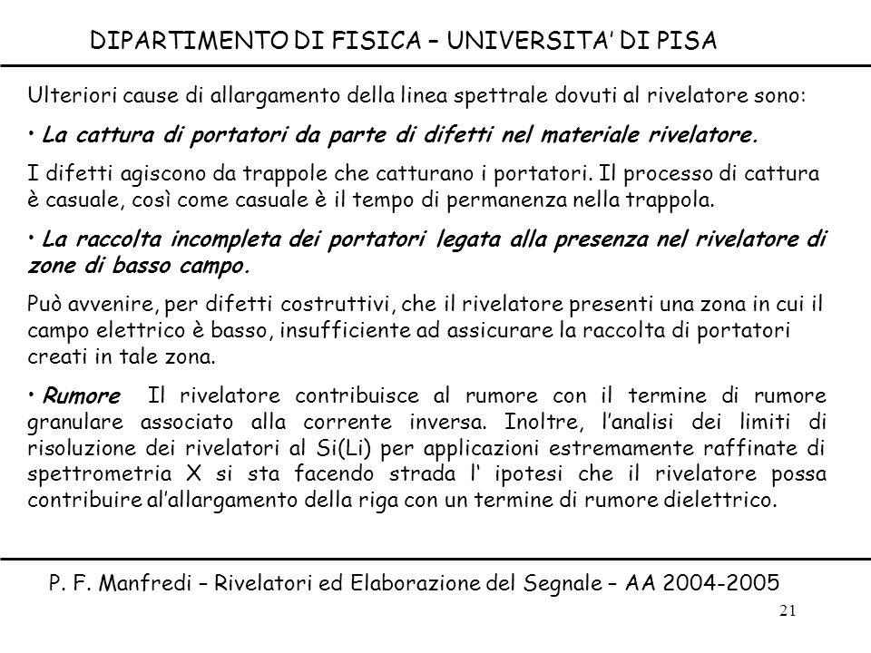 P. F. Manfredi – Rivelatori ed Elaborazione del Segnale – AA 2004-2005