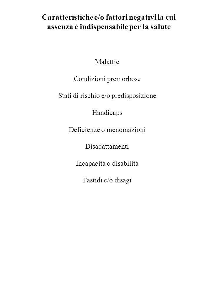 Caratteristiche e/o fattori negativi la cui
