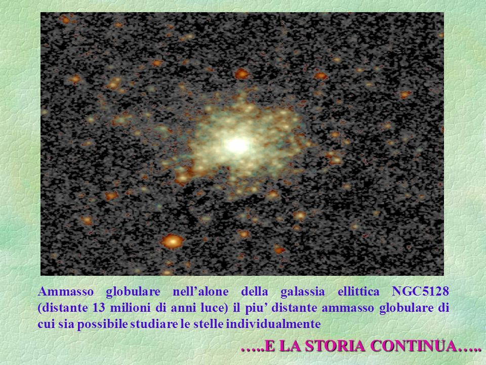 Ammasso globulare nell'alone della galassia ellittica NGC5128 (distante 13 milioni di anni luce) il piu' distante ammasso globulare di cui sia possibile studiare le stelle individualmente