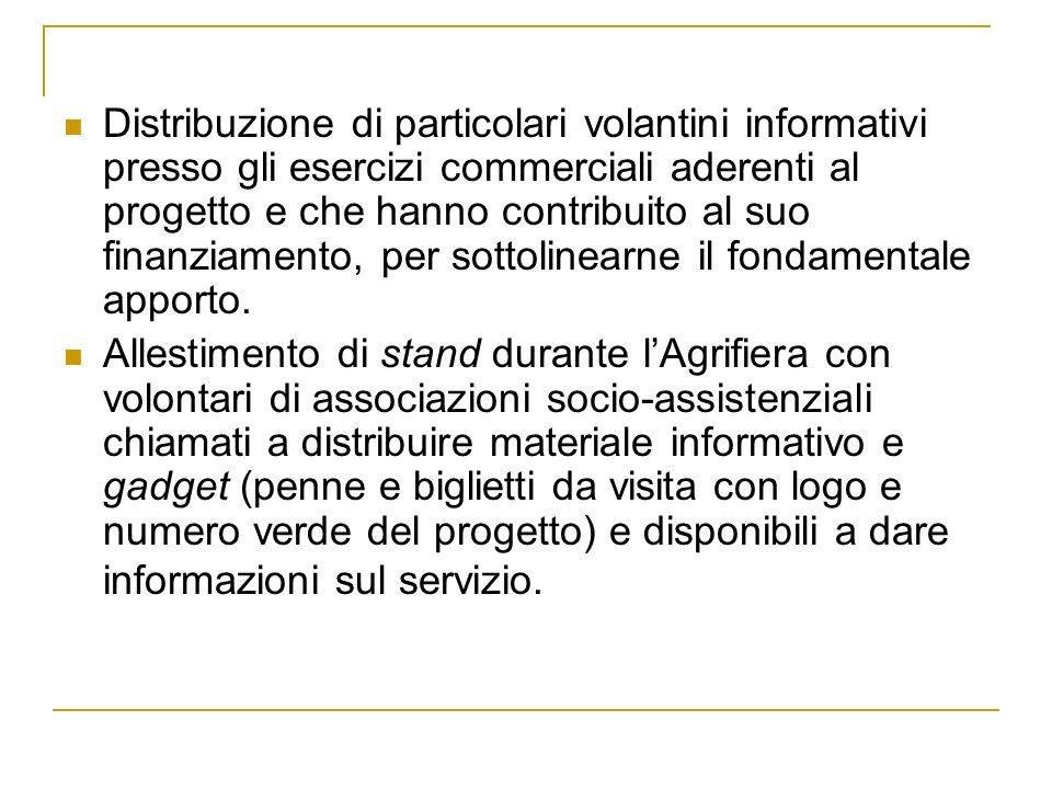 Distribuzione di particolari volantini informativi presso gli esercizi commerciali aderenti al progetto e che hanno contribuito al suo finanziamento, per sottolinearne il fondamentale apporto.