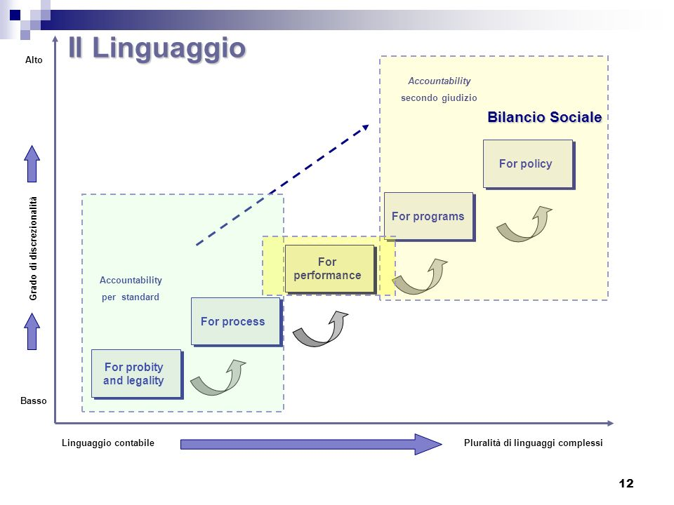Il Linguaggio Bilancio Sociale For policy For programs For performance