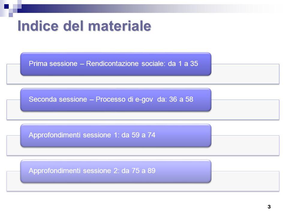 Indice del materiale Prima sessione – Rendicontazione sociale: da 1 a 35. Seconda sessione – Processo di e-gov da: 36 a 58.