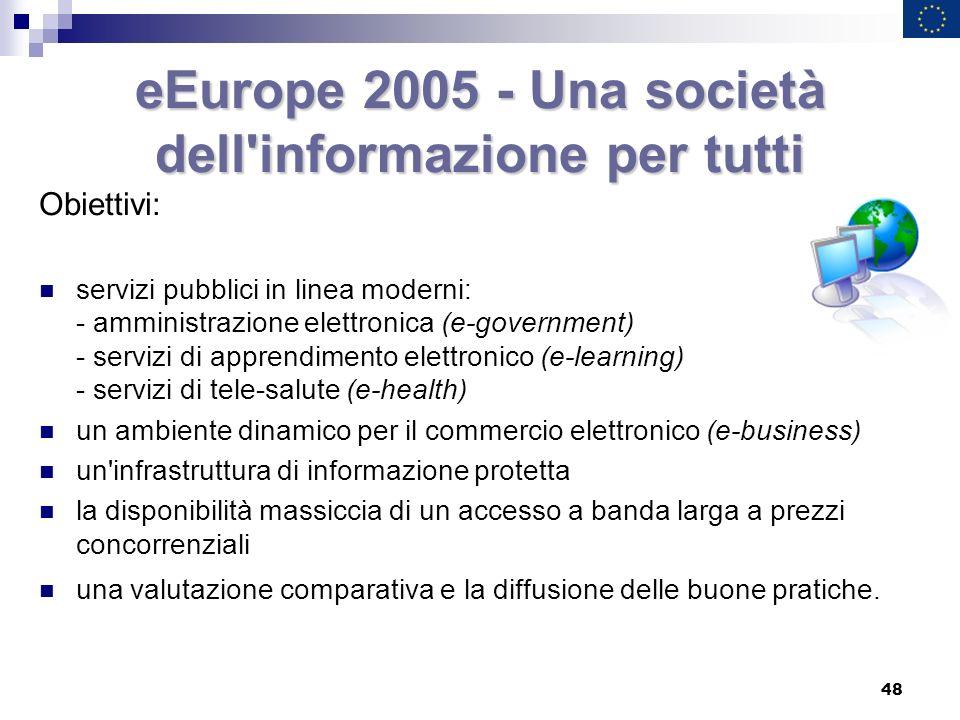 eEurope 2005 - Una società dell informazione per tutti