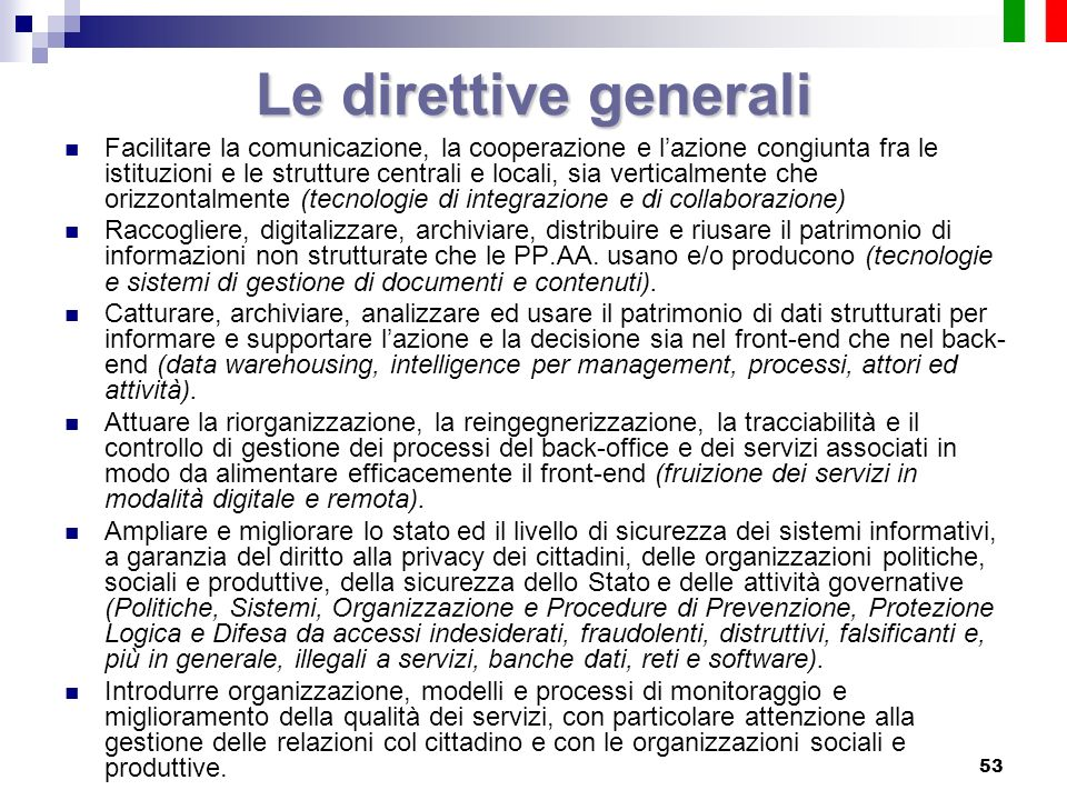 Le direttive generali