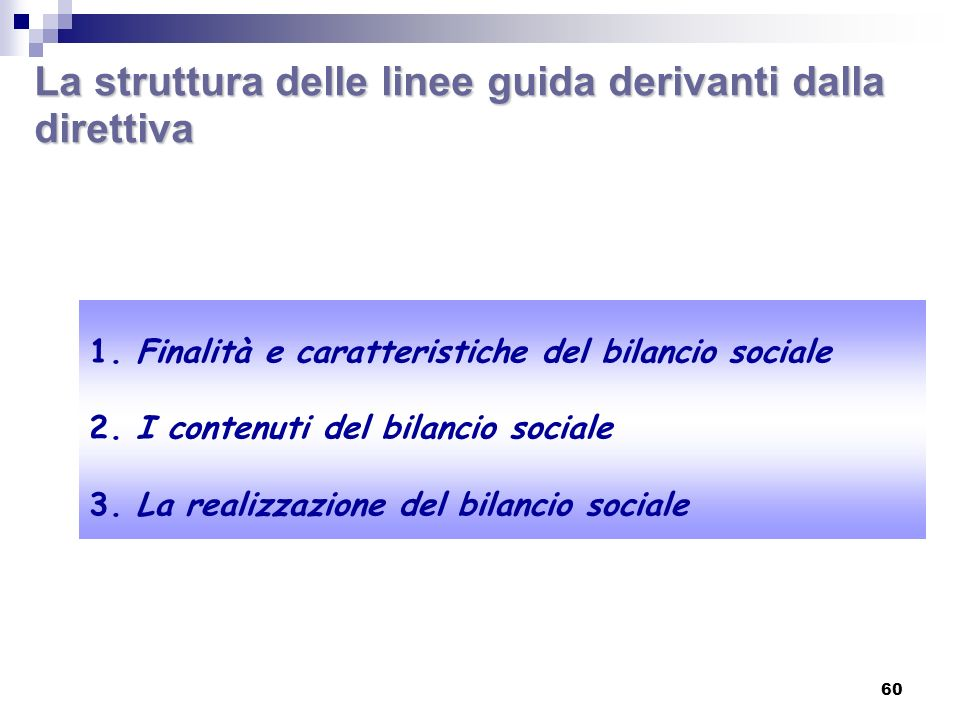 La struttura delle linee guida derivanti dalla direttiva