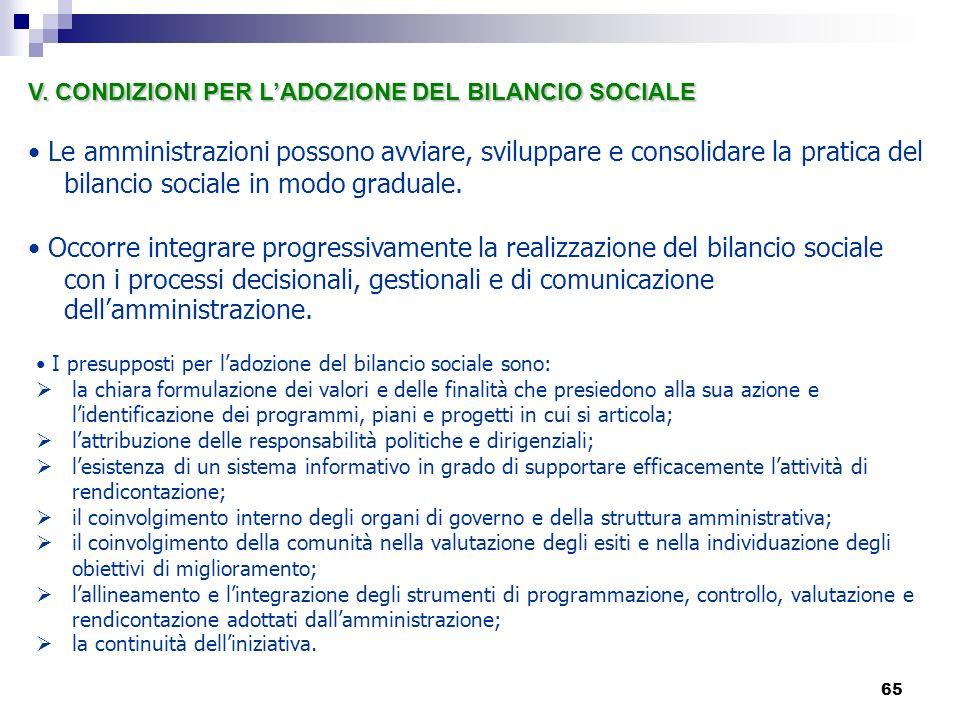 V. CONDIZIONI PER L'ADOZIONE DEL BILANCIO SOCIALE