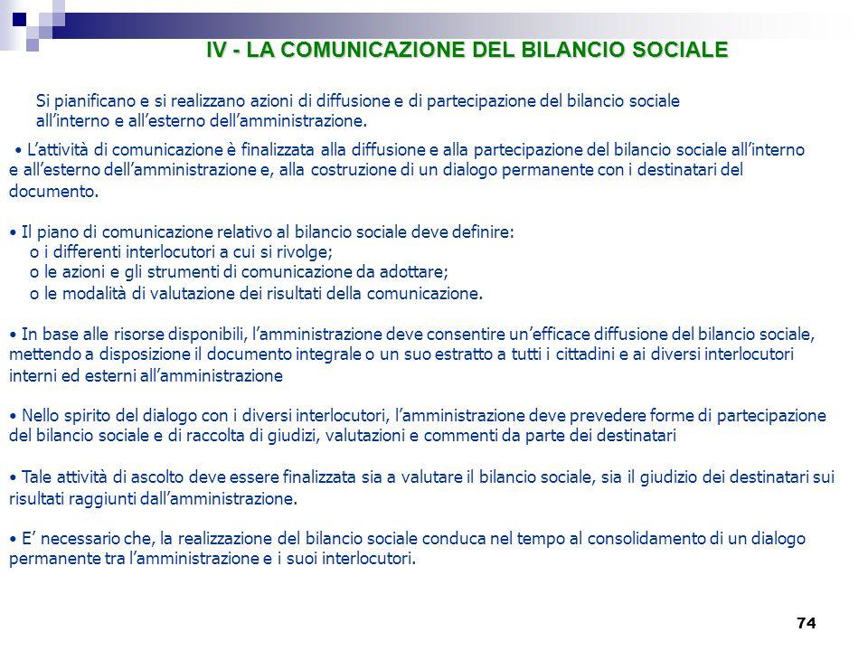 IV - LA COMUNICAZIONE DEL BILANCIO SOCIALE