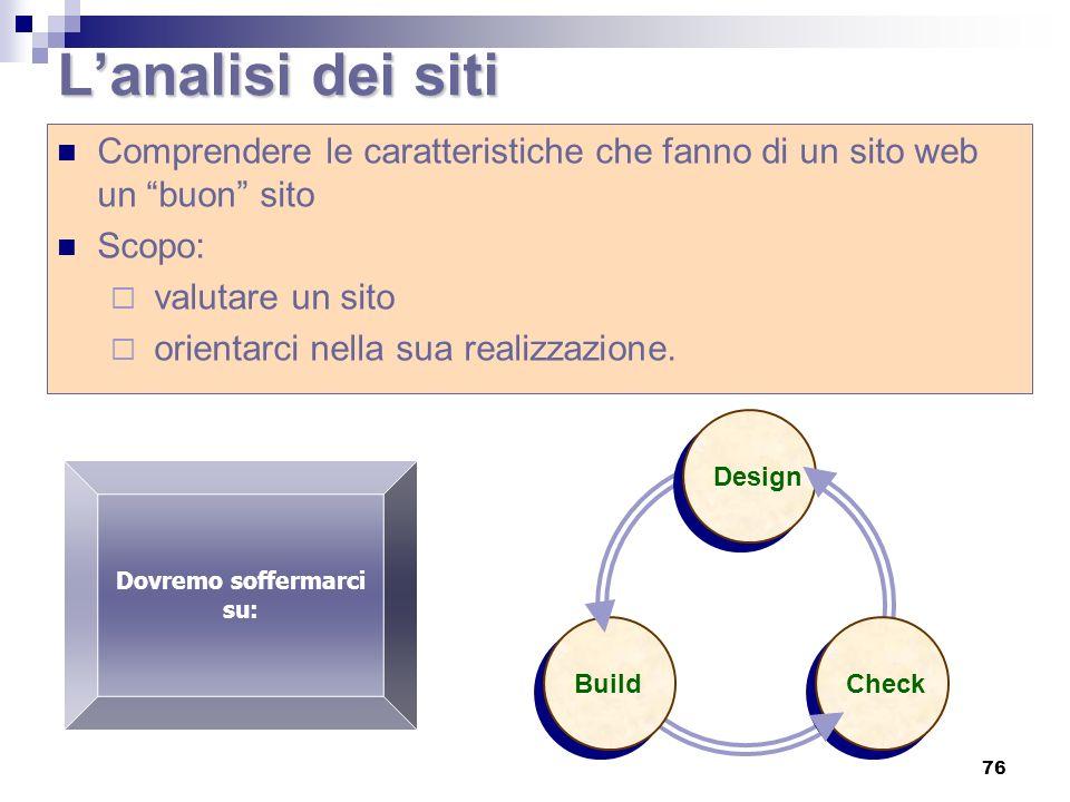 L'analisi dei siti Comprendere le caratteristiche che fanno di un sito web un buon sito. Scopo: valutare un sito.