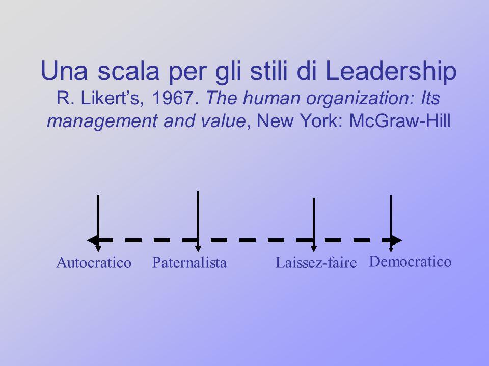 Una scala per gli stili di Leadership R. Likert's, 1967