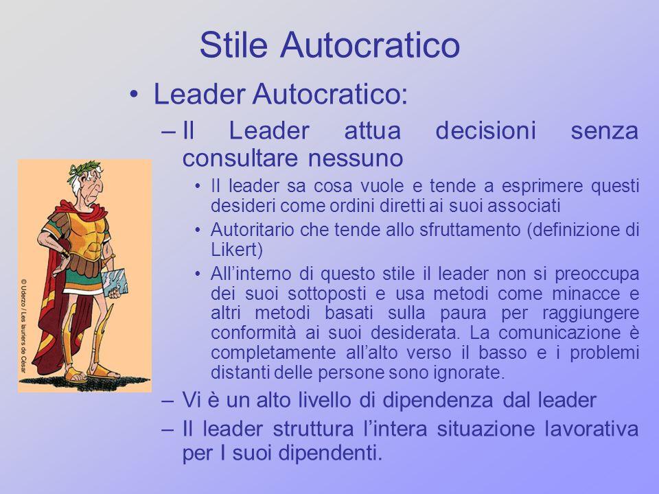 Stile Autocratico Leader Autocratico: