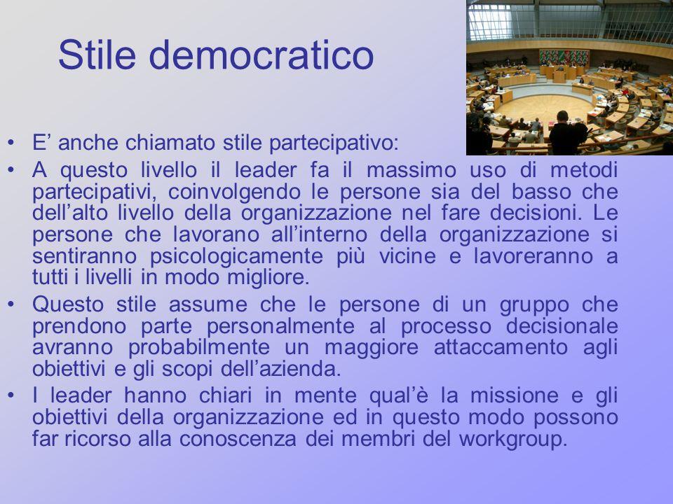 Stile democratico E' anche chiamato stile partecipativo: