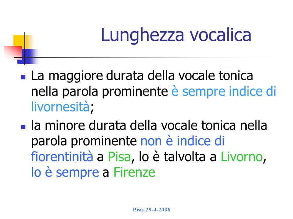 Lunghezza vocalica La maggiore durata della vocale tonica nella parola prominente è sempre indice di livornesità;