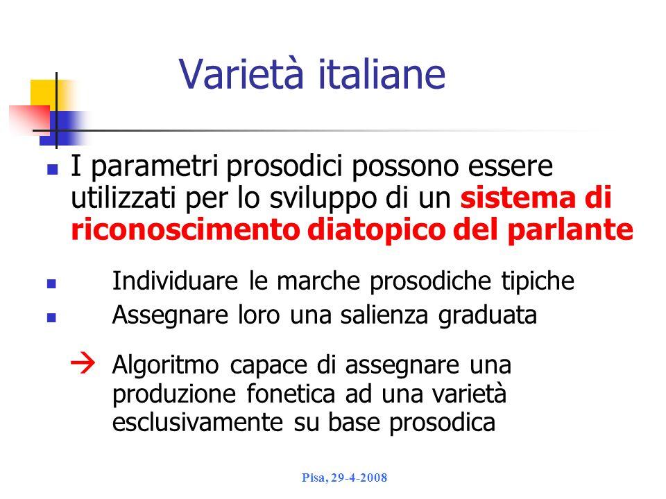 Varietà italiane I parametri prosodici possono essere utilizzati per lo sviluppo di un sistema di riconoscimento diatopico del parlante.