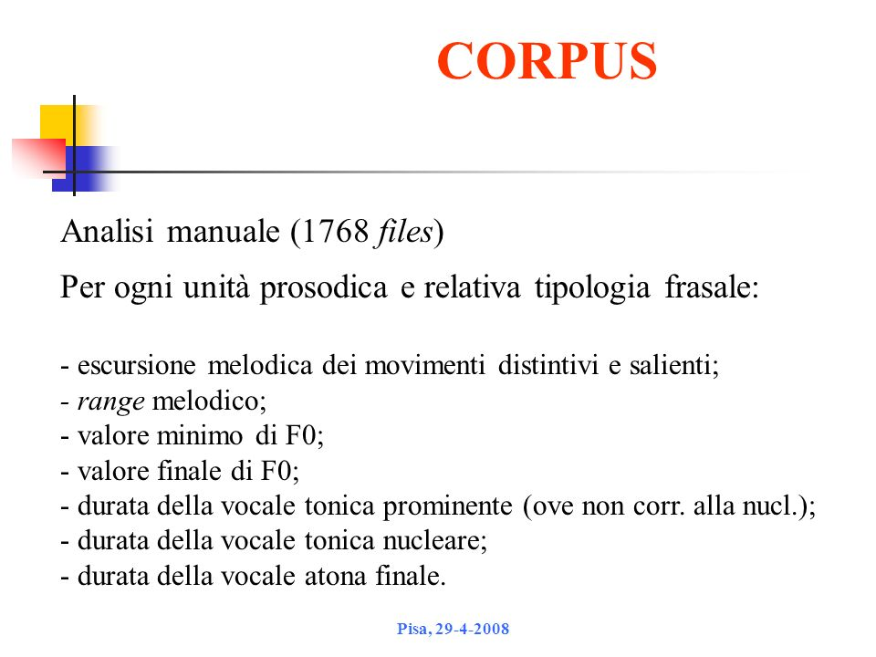 CORPUS Analisi manuale (1768 files)