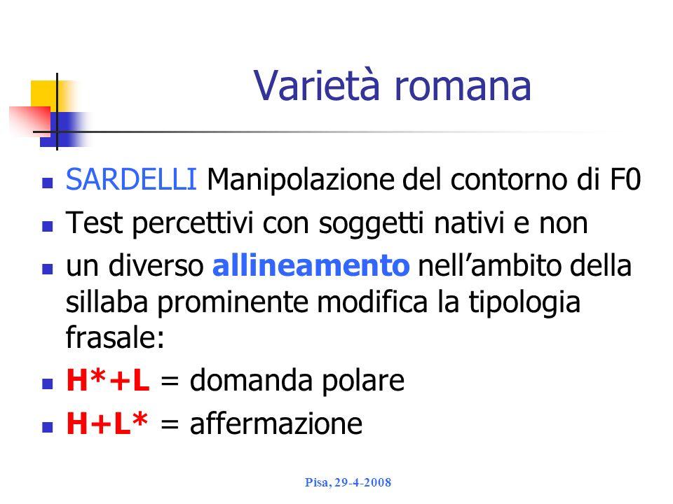 Varietà romana SARDELLI Manipolazione del contorno di F0
