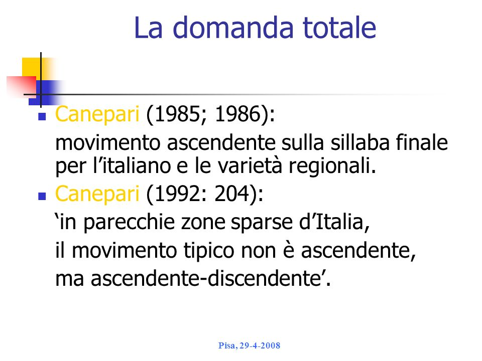 La domanda totale Canepari (1985; 1986):