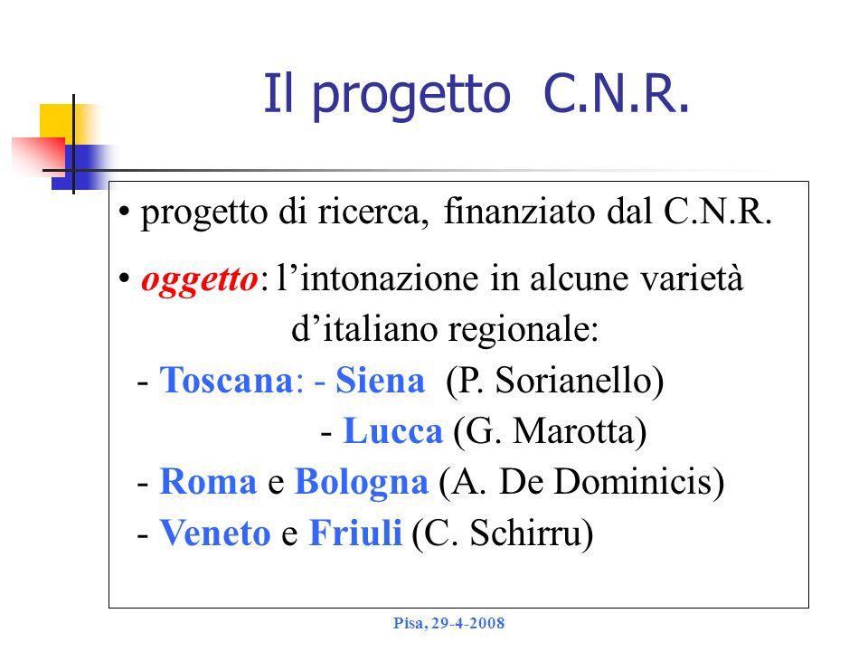 Il progetto C.N.R. progetto di ricerca, finanziato dal C.N.R.