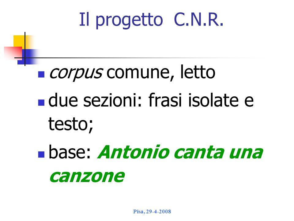 due sezioni: frasi isolate e testo; base: Antonio canta una canzone