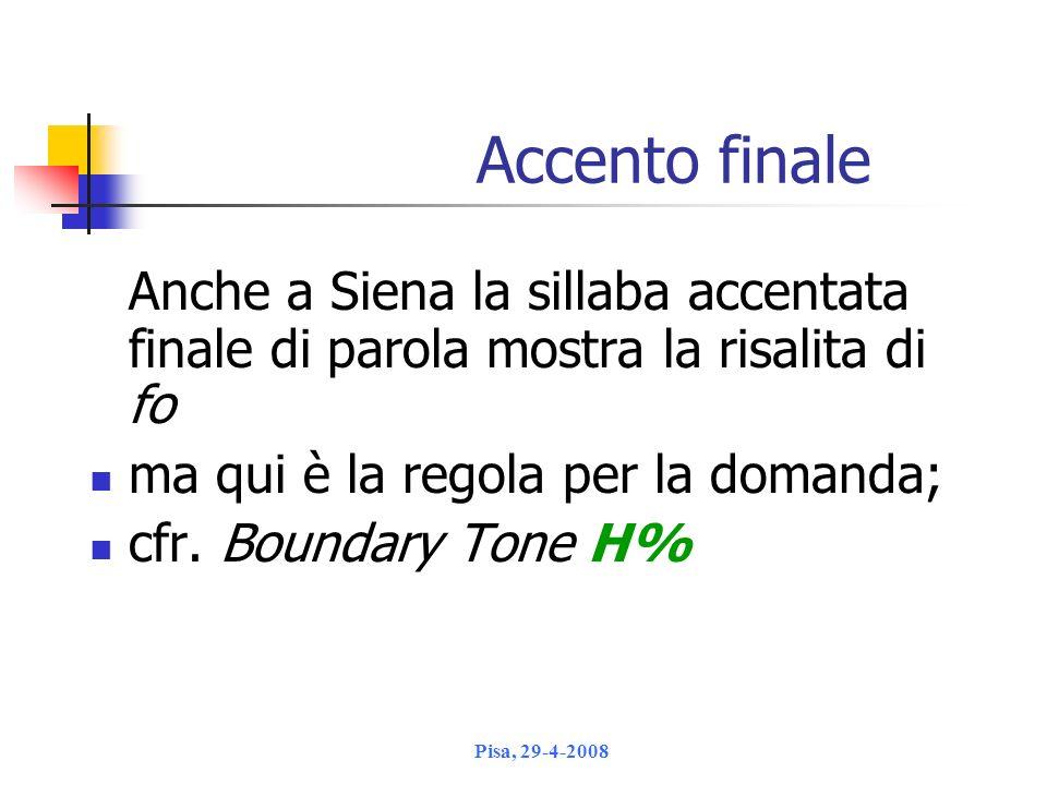 Accento finale Anche a Siena la sillaba accentata finale di parola mostra la risalita di fo. ma qui è la regola per la domanda;