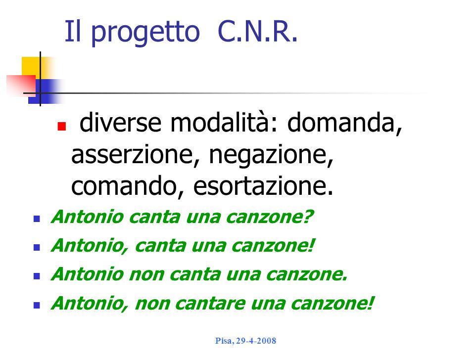 Il progetto C.N.R. diverse modalità: domanda, asserzione, negazione, comando, esortazione. Antonio canta una canzone