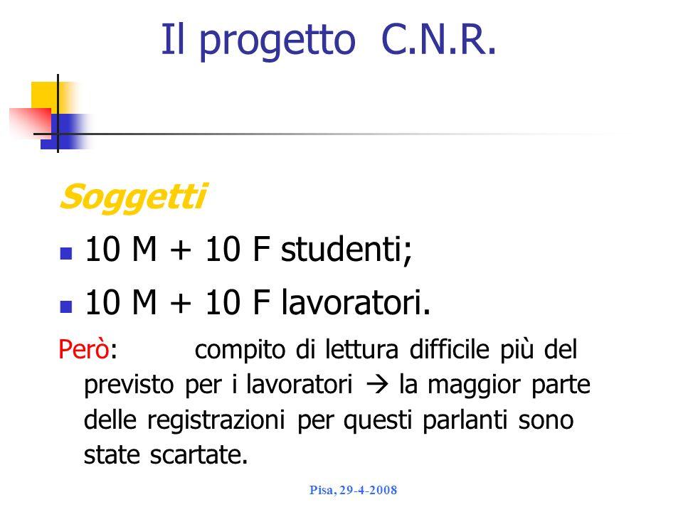 Il progetto C.N.R. Soggetti 10 M + 10 F studenti;