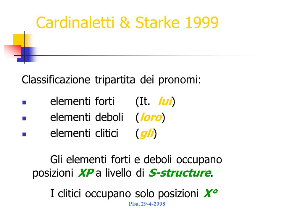 Cardinaletti & Starke 1999 Classificazione tripartita dei pronomi: