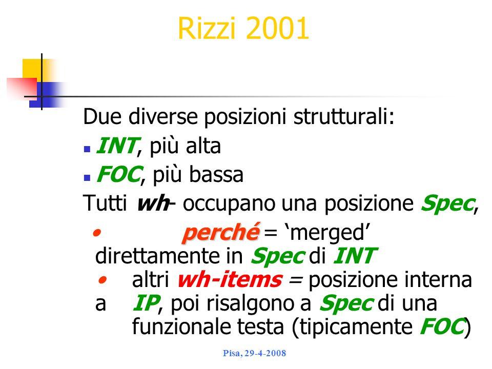 Rizzi 2001 Due diverse posizioni strutturali: INT, più alta