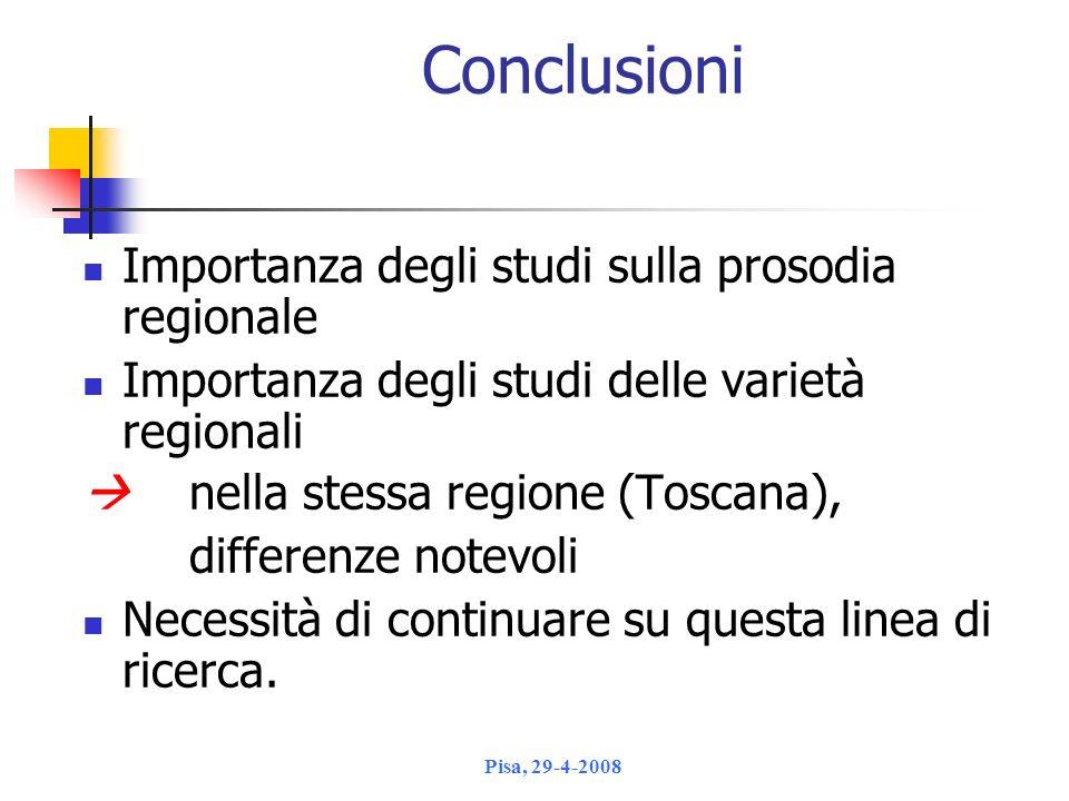 Conclusioni Importanza degli studi sulla prosodia regionale