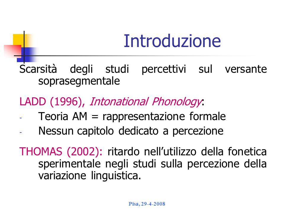 Introduzione Scarsità degli studi percettivi sul versante soprasegmentale. LADD (1996), Intonational Phonology: