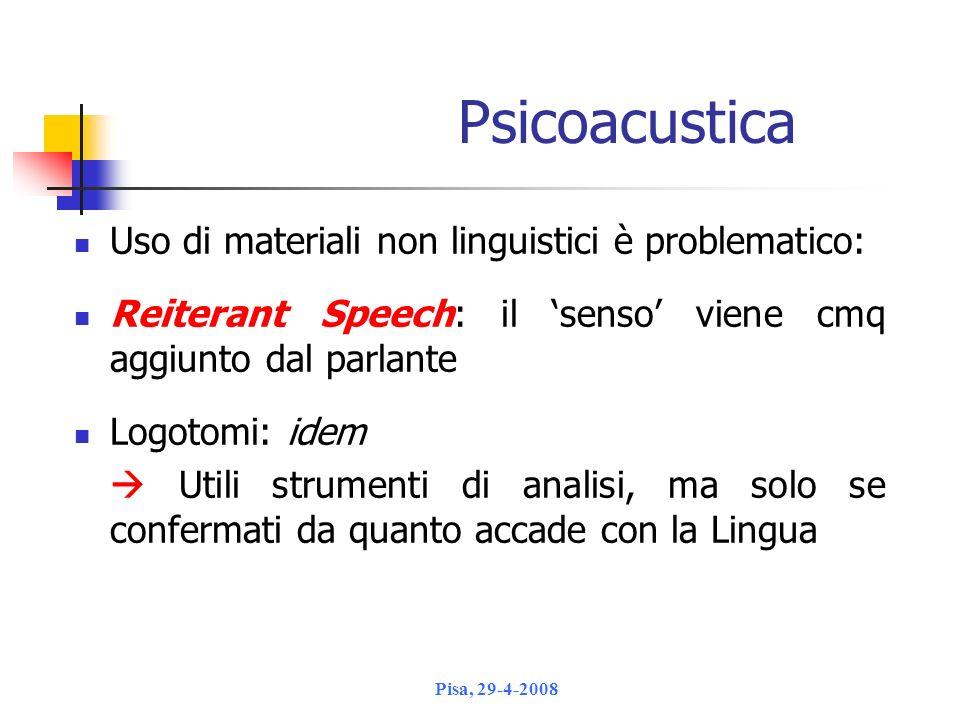 Psicoacustica Uso di materiali non linguistici è problematico: