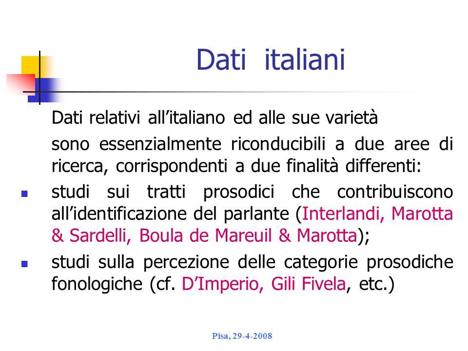 Dati italiani Dati relativi all'italiano ed alle sue varietà