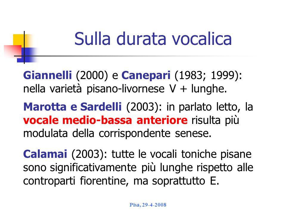 Sulla durata vocalica Giannelli (2000) e Canepari (1983; 1999):