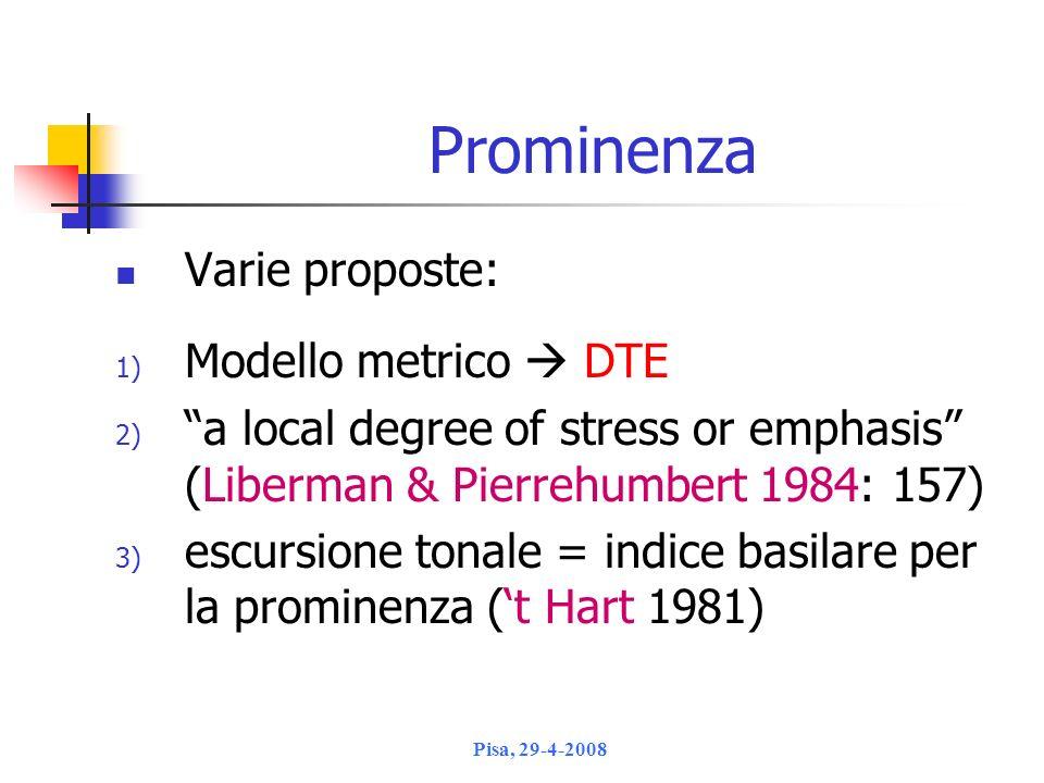 Prominenza Varie proposte: Modello metrico  DTE