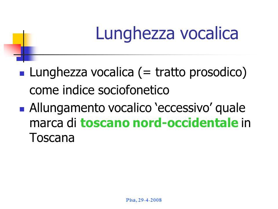 Lunghezza vocalica Lunghezza vocalica (= tratto prosodico)