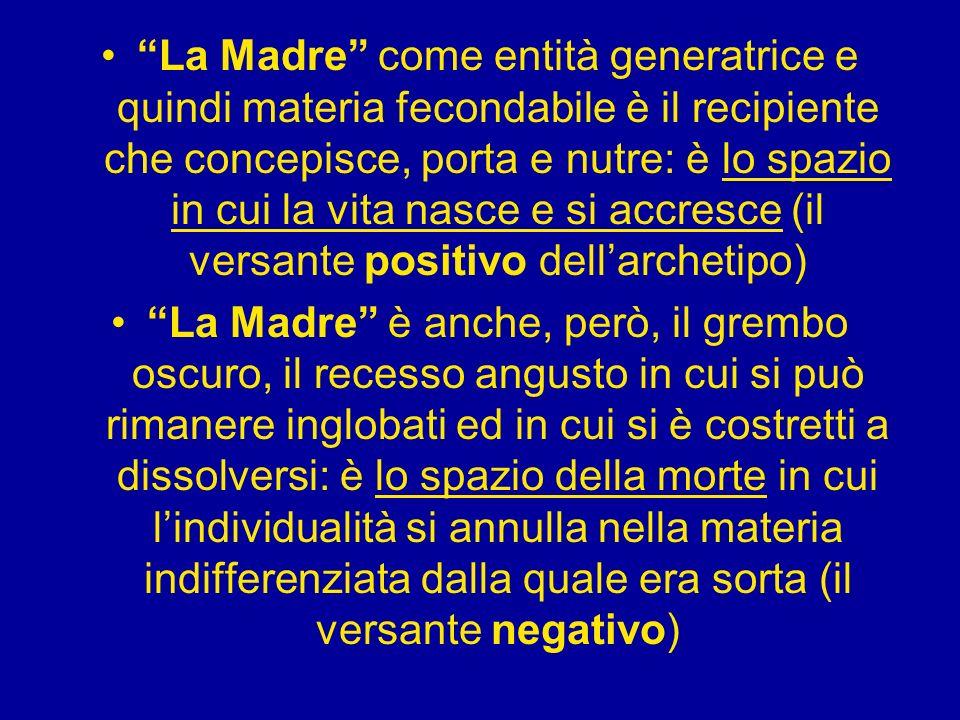 La Madre come entità generatrice e quindi materia fecondabile è il recipiente che concepisce, porta e nutre: è lo spazio in cui la vita nasce e si accresce (il versante positivo dell'archetipo)