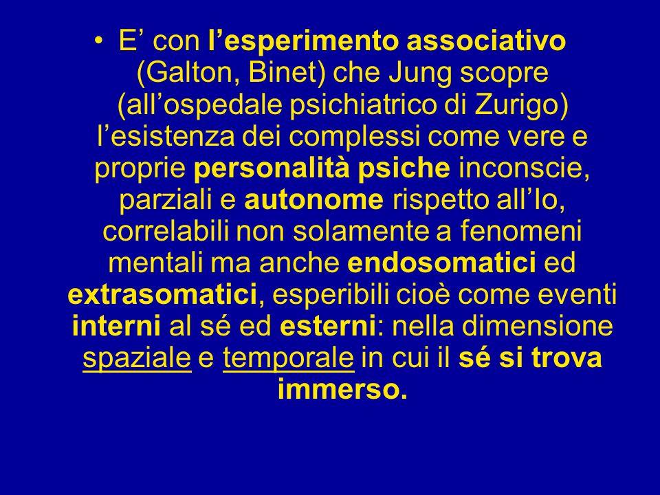 E' con l'esperimento associativo (Galton, Binet) che Jung scopre (all'ospedale psichiatrico di Zurigo) l'esistenza dei complessi come vere e proprie personalità psiche inconscie, parziali e autonome rispetto all'Io, correlabili non solamente a fenomeni mentali ma anche endosomatici ed extrasomatici, esperibili cioè come eventi interni al sé ed esterni: nella dimensione spaziale e temporale in cui il sé si trova immerso.