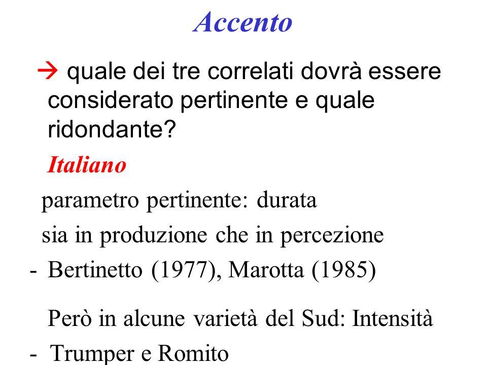 Accento  quale dei tre correlati dovrà essere considerato pertinente e quale ridondante Italiano.