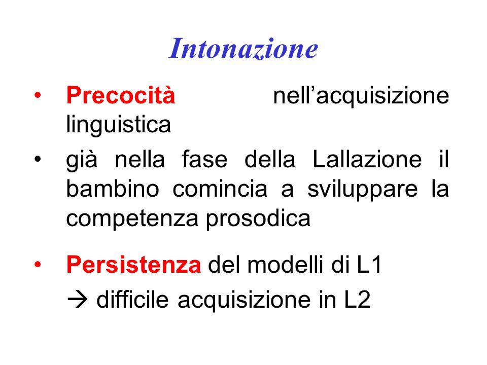 Intonazione Precocità nell'acquisizione linguistica