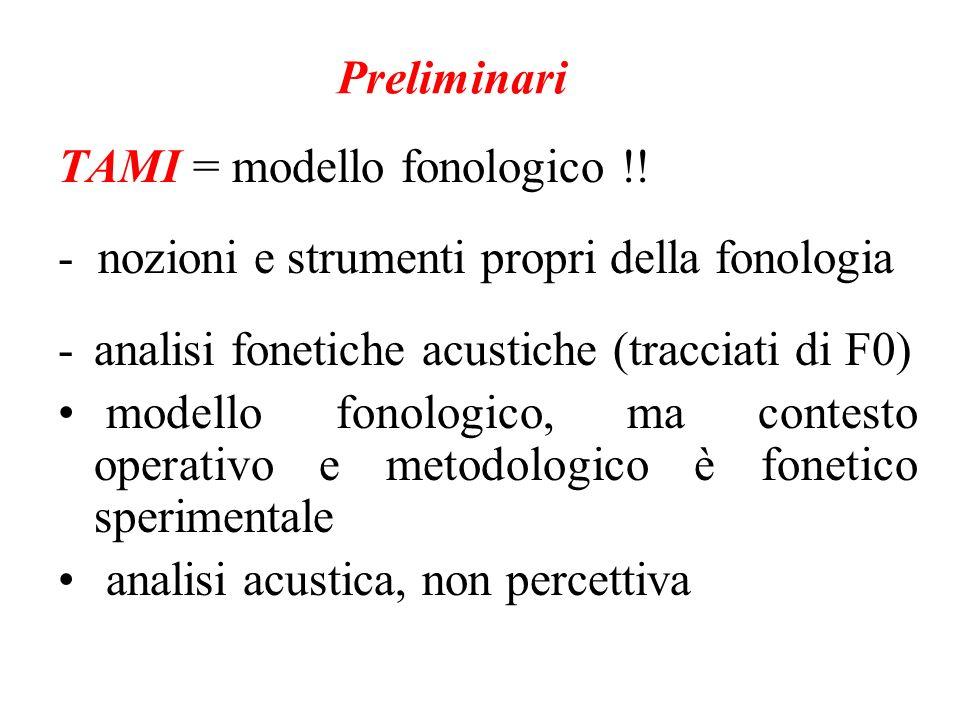 Preliminari TAMI = modello fonologico !! - nozioni e strumenti propri della fonologia. - analisi fonetiche acustiche (tracciati di F0)