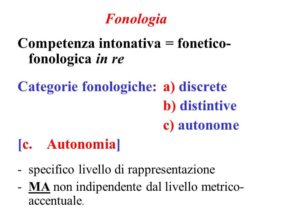 Competenza intonativa = fonetico-fonologica in re