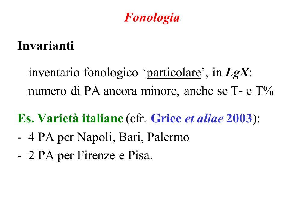 Fonologia Invarianti. inventario fonologico 'particolare', in LgX: numero di PA ancora minore, anche se T- e T%