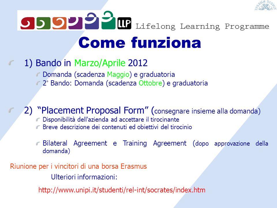 Come funziona 1) Bando in Marzo/Aprile 2012