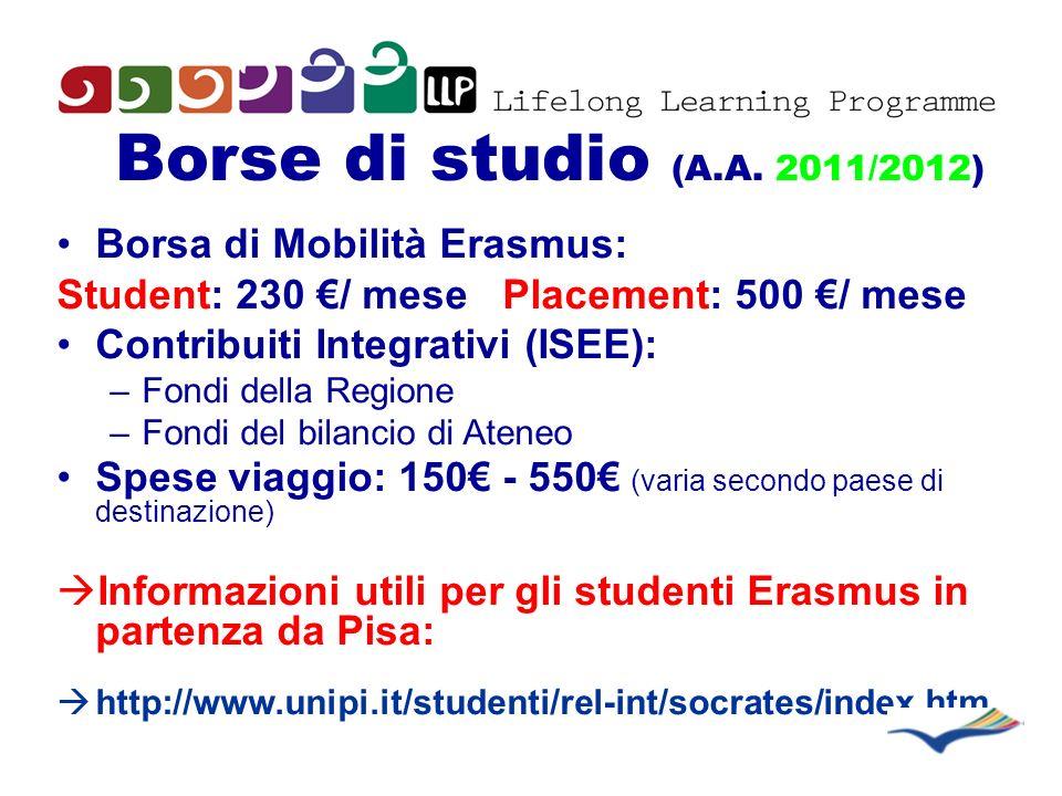 Borse di studio (A.A. 2011/2012) Borsa di Mobilità Erasmus: