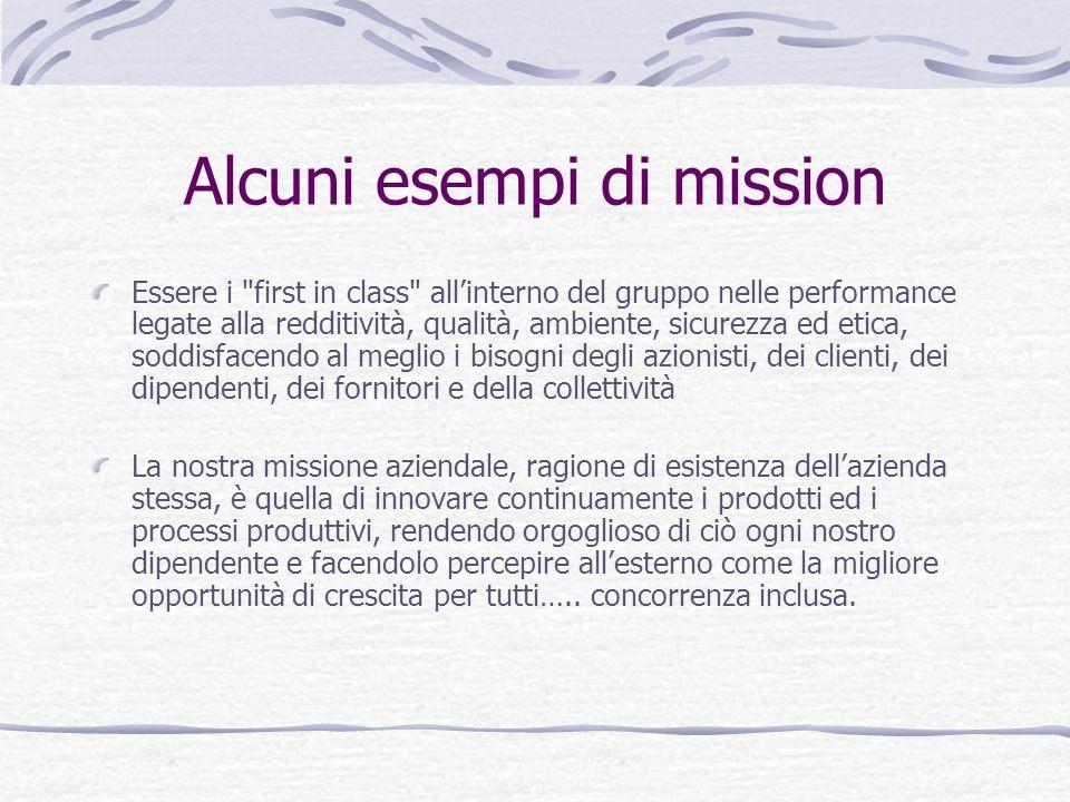 Alcuni esempi di mission