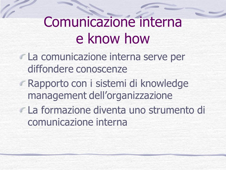 Comunicazione interna e know how
