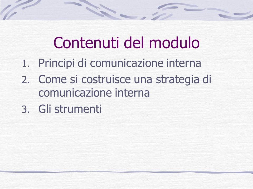 Contenuti del modulo Principi di comunicazione interna